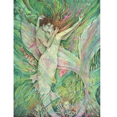 The Mermaid and the Sailor art print of two mermaid lovers original romantic mermaid art