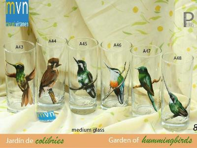 Set of handpainted glasses: GARDEN OF HUMMINGBIRDS