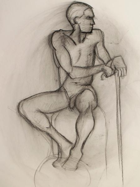Seated Male Nude (ball and stick)