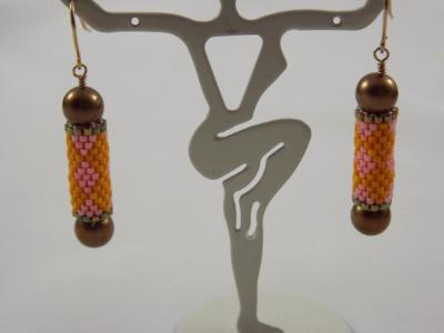 E-103 Golden Yellow & Pink Bead Tube Earrings with Bronze Pearl