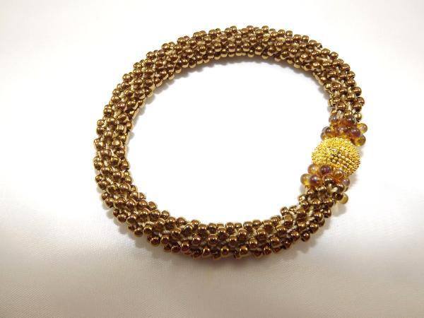 B-44 burnished gold crocheted rope bracelet