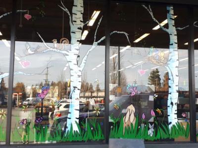 spring birch mural