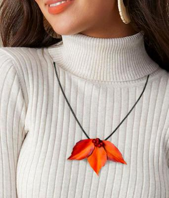 Dogwood Leaf Cluster Necklace Pendant