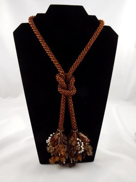 N-2 Rootbeer Crocheted Tassel Rope Necklace
