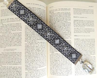 metallic tapestry bookmark crystal