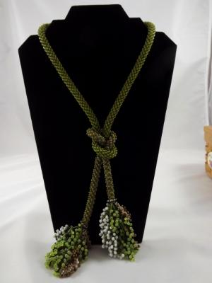 N-69 Olive Crocheted Tassel Necklace