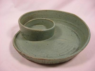 110820.A Spiral Chip-N-Dip with Mint Green Glaze