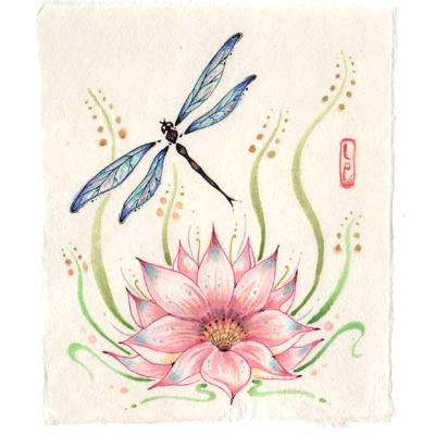 Dragonfly with lotus flower original Zen style painting