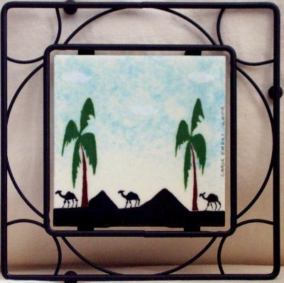 "4"" tile mounted in trivet"