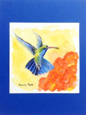 Humming bird 6x6 watercolor paper in watercolor