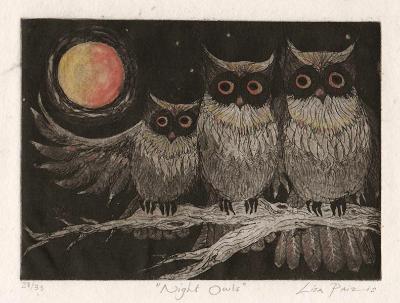Night Owls limited edition owl etching print by Liza Paizis