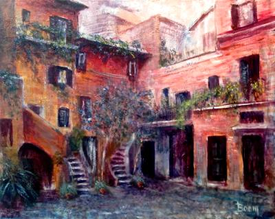 A quiet Roman Courtyard  -  SOLD