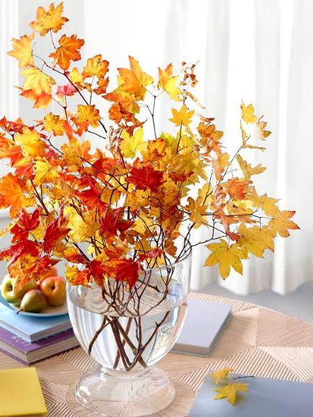 Fall Season Flower Arrangement With Autumn Leaves California