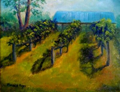 Brooks Hill Winery 8x10 panel in oils