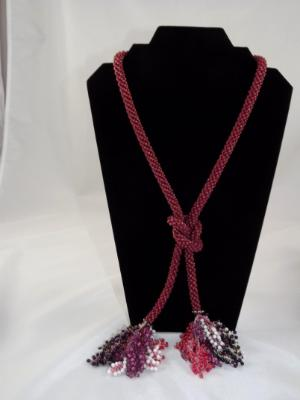 N-76 Rose Crocheted Tassel Rope Necklace
