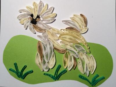 Wheaten Terrier quilled greeting card