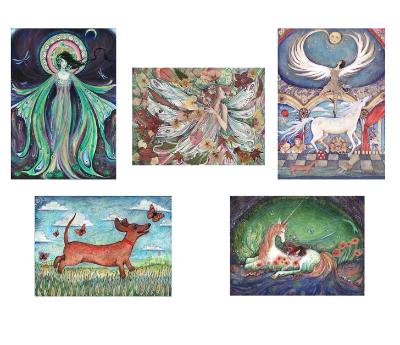 A selection of 5 art cards