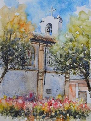 Plein air watercolor view of Quito, 35cm x 25cm, 2017