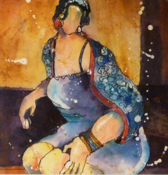Jill Watercolor Batik ~ Sold