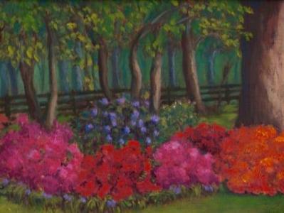 Peggy's Garden 8x10 panel in oils