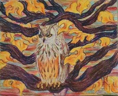Eagle Owl in Oak Tree