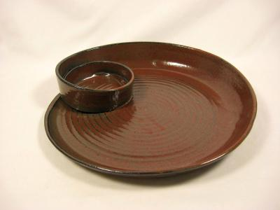 110901.J Spiral Chip-N-Dip with Iron Red Glaze