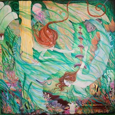 Mermaids in Atlantis fantasy art print from an original painting by Liza Paizis
