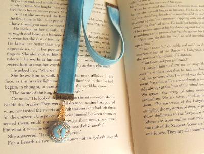 steampunk velvet bookmark czech glass