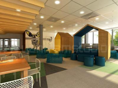 3D Interior Cafeteria Design