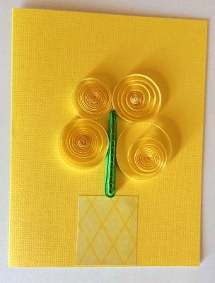 Yellow vase with flowers handmade quilling greeting card.
