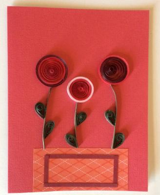 Red vase with flowers handmade quilling greeting card.