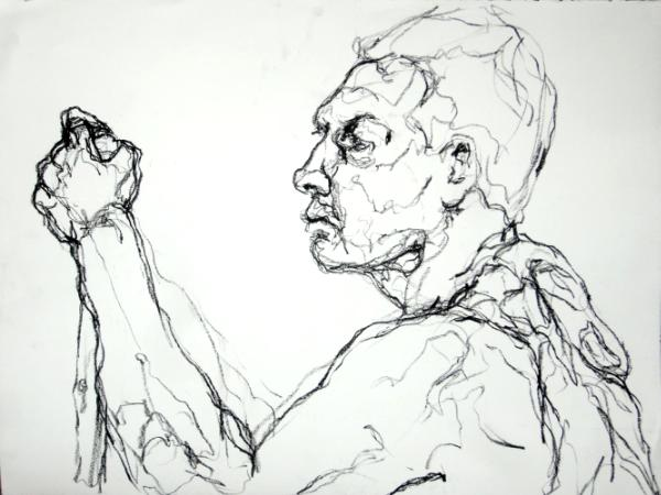 profile with arm raised