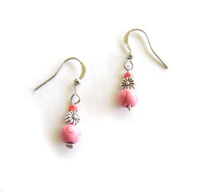 Pink Howlite silver flower earrings