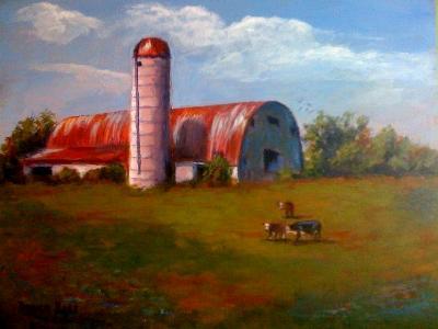 Taylorsville barn on 8x10 panel in oils