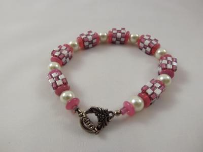 B-14 pink & white cube bracelet