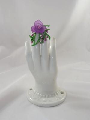 R-11 Purple Beaded Ring w/Purple Flower