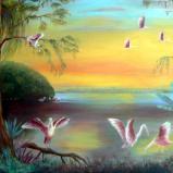 Roseate Spoonbills at Dawn