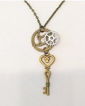 """18"""" antique gold chain necklace with small key and charms"""