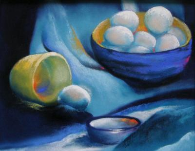 Blue Still Life with Eggs