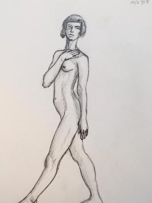 Standing Female Nude, Hand on Shoulder