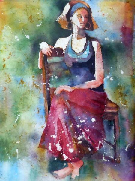 """Carolina Girl ~ Watercolor Batik ~ 18"""" x 24"""" ~ Sold"""