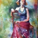 "Carolina Girl ~ Watercolor Batik ~ 18"" x 24"" ~ Sold"