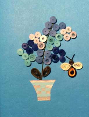 Blue Hydrangas quilled greeting card