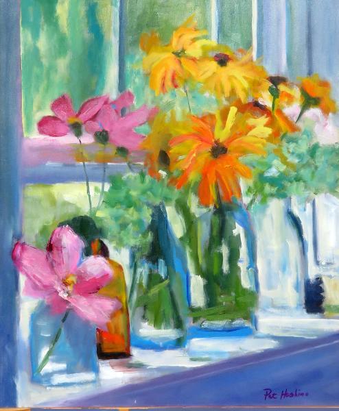 Daisies in Window - 16x20 - oil