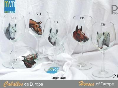 Set of handpainted glasses: HORSES OF EUROPE