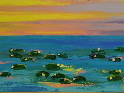 Water Lilies  2 15 X 30 Acrylic on Canvas board Embellished prints available