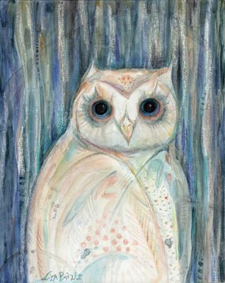Owl Spirit original framed owl totem painting
