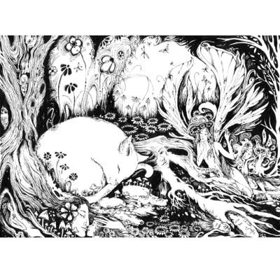 Fairy Cat black and white fantasy drawing