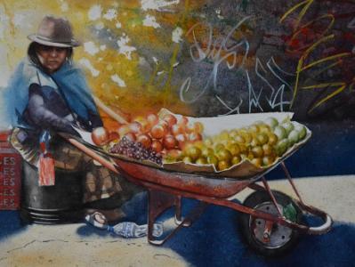Portrait of a street fruits seller, 38cm x 56cm, 2019