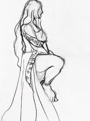 Amber, Seated Barbarian